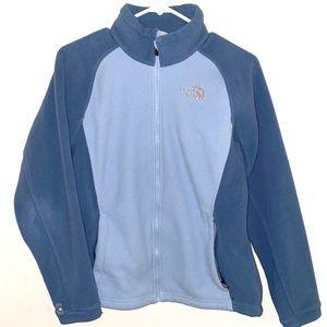The North Face M blue color block fleece jacket